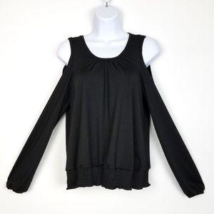 Black Cold Shoulder Top w/Elastic Waist & Cuff, L